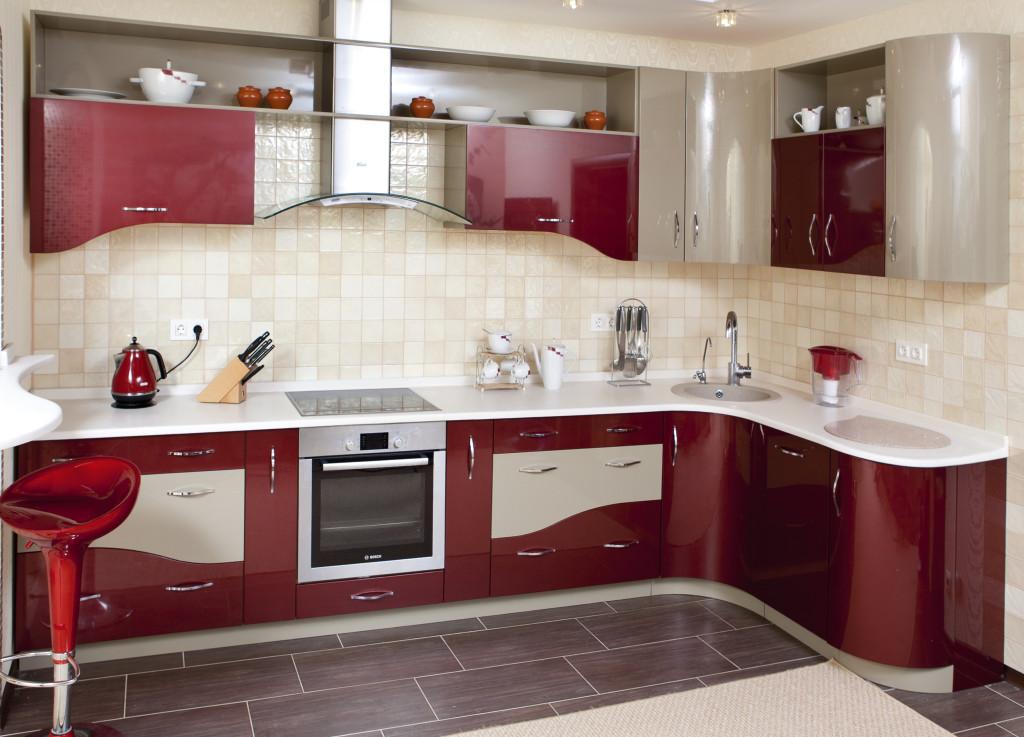 Угловой современный кухонный гарнитур дизайн